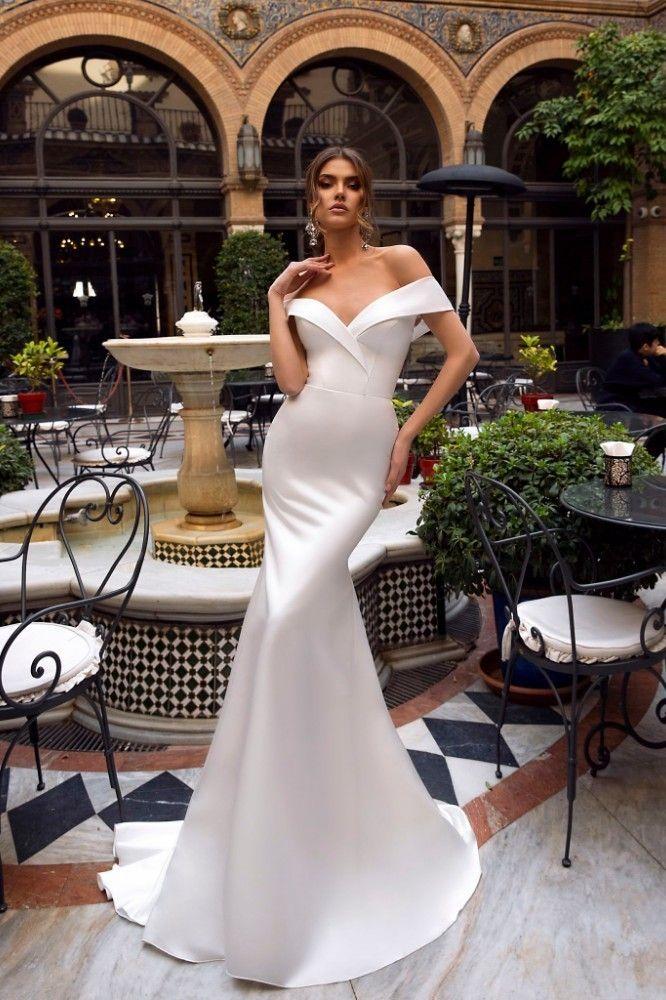 Vivian's Bridal 2019 New Vintage Satin Mermaid Reflective Wedding Dress Sexy Sweetheart Off Shoulder Sweep Train Bridal Dress | best to buy online