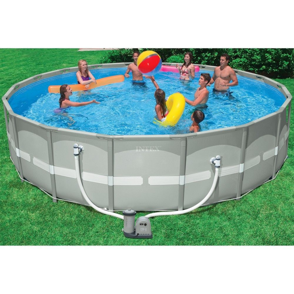 Intex 18\' X 48 Ultra Frame Above Ground Pool with Filter Pump, Gray ...