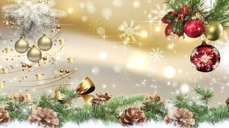 A Christmas So Bright - snow, bright, bows, decorations, ribbon, snowflakes, pine cones, gold, stars, christmas, balls, sparkle, shine, golden  http://nature.desktopnexus.com/wallpaper/1257268/