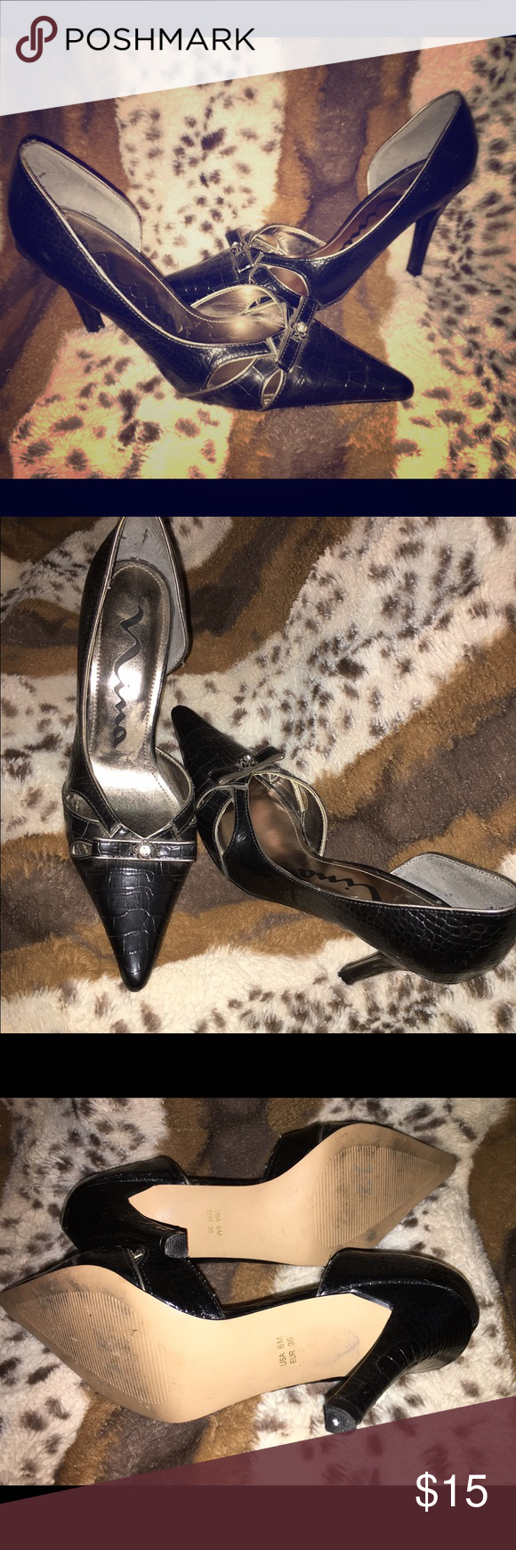 Nina Kitten Heel Pointed Toe Barely Used these and in great condition! Very classy to pair with jeans or for the office. Nina Shoes Heels