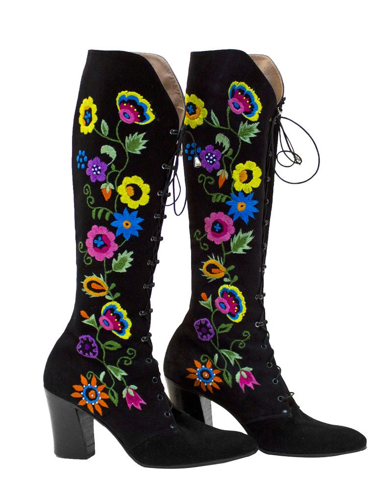 Floral Embroidery Lace Up Boots