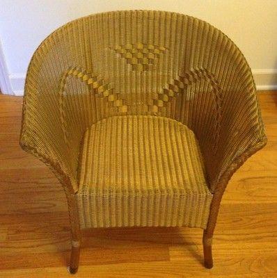 Lloyd Loom Antique Wicker Arm Chair Near Mint Condition