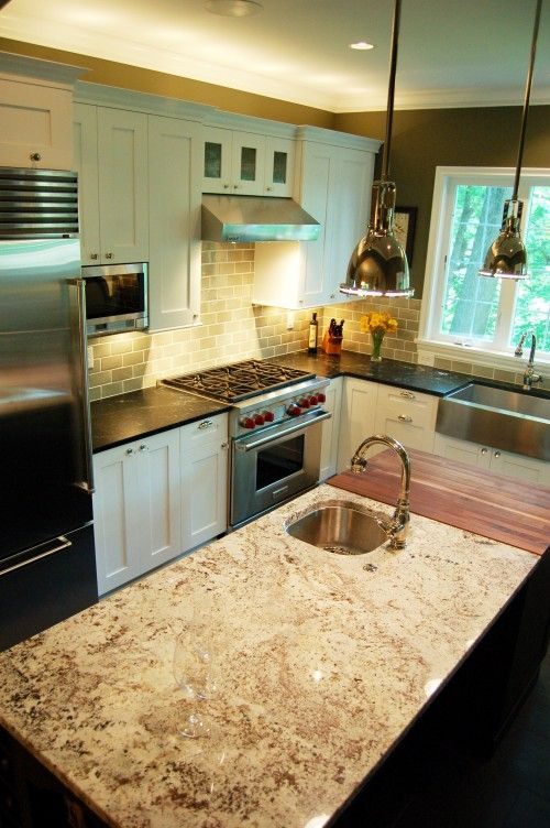 Mixed Countertops Granite W Butcherblock White Kitchen