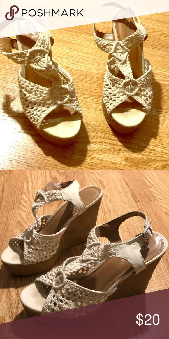b5e006a90b9 Crochet-Top Wedges Beige crochet top wedges Limelight Shoes Wedges