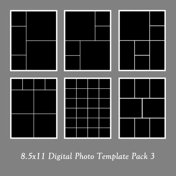 8.5x11 Photo Template Pack, Photo Collage, Portfolio