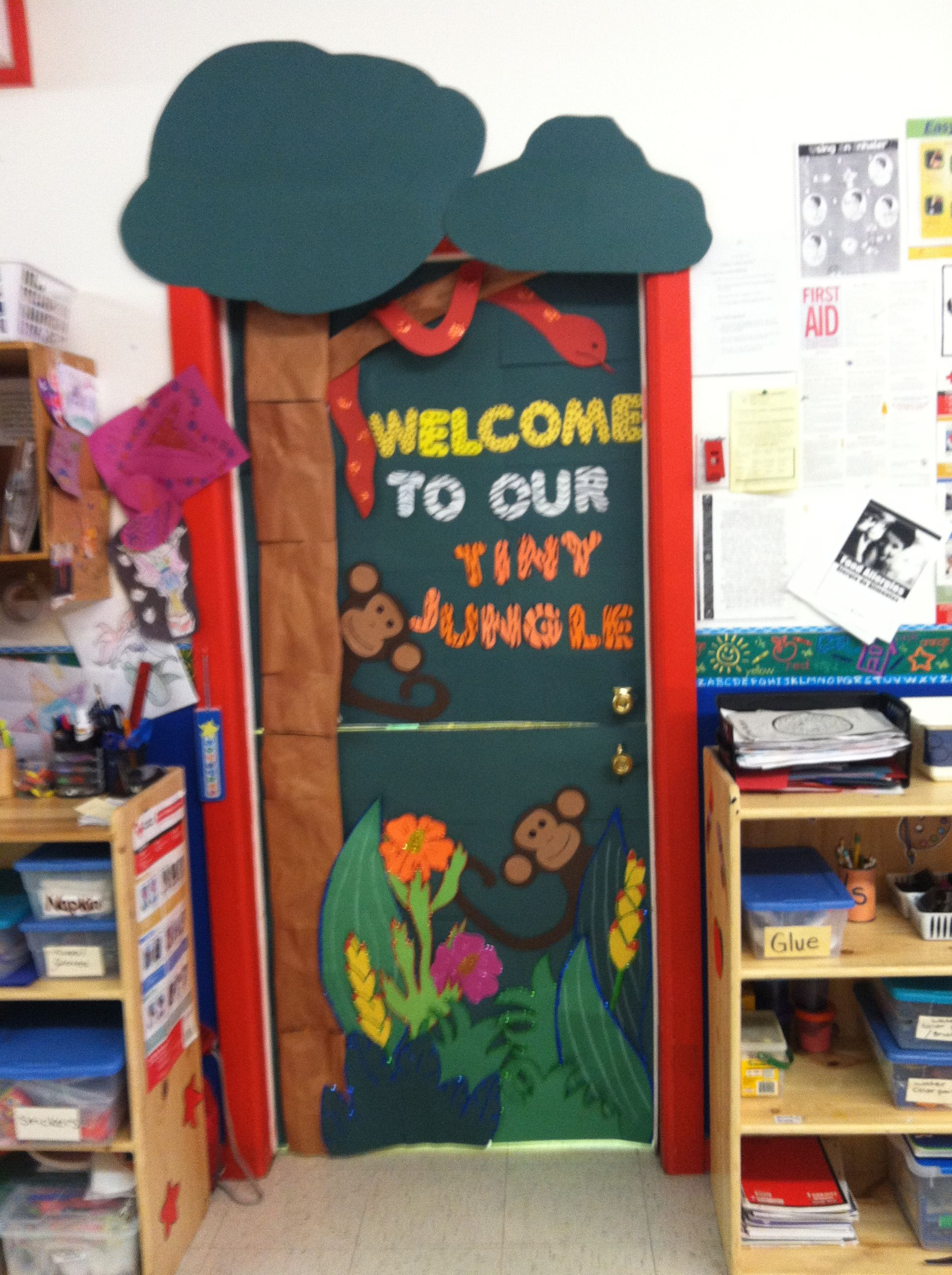 Jungle theme door, for my job. Our class is named tiny jungle. Hope you enjoy. :)