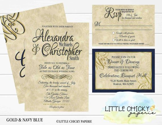 Beauty and the Beast Wedding Invitation Set, RSVP and Details Cards, Red Rose, Gold, Navy Blue Digital Invitation, Printable Invitation