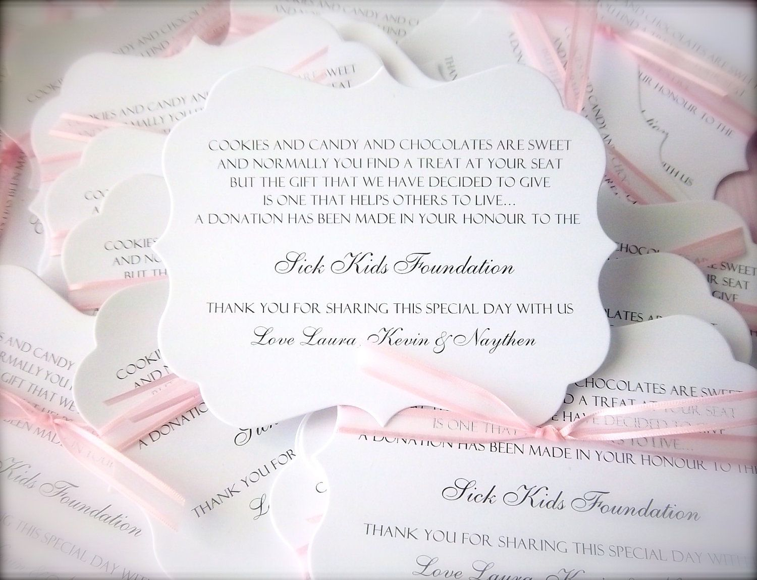 300 Donation Cards/Charity Favor Cards By