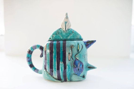 Clay Pottery Handmade Ceramics Cheshire Cat Teapot Alice In Wonderland Ceramic Teapot Clay Teapot Unique Teapot Tea Pots Clay Teapots Teapots Unique