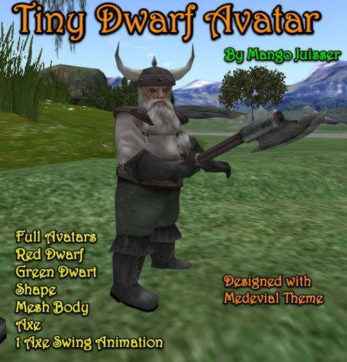 Medevial Dwarf Avatar, Axe Wielder | While mesh avatar faces can't animate expressively, the overall build here made me smile and recalls Skyrim, D, and other fantasy worlds. Still cracking up and trying hard not to think of Gimli lines.