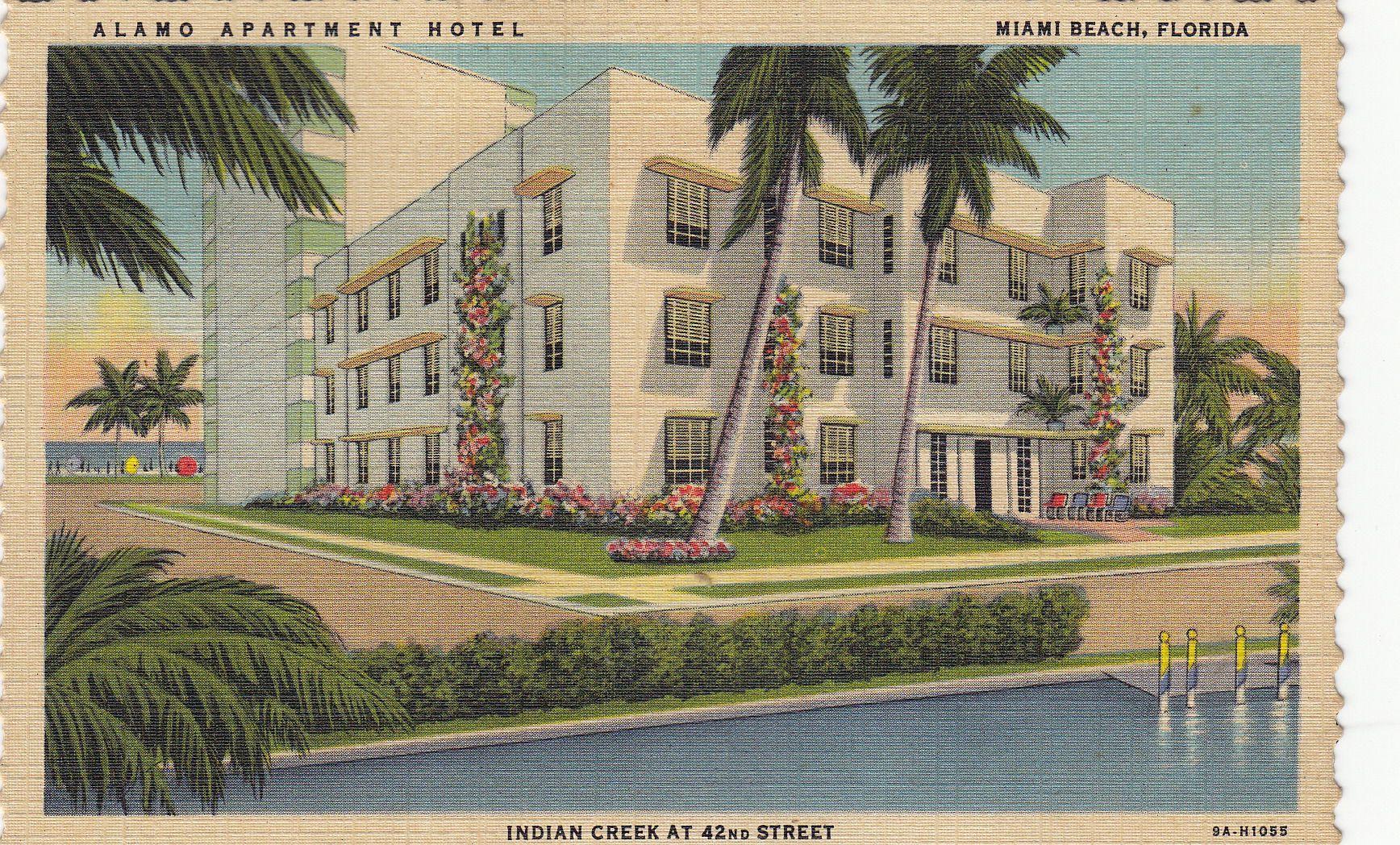 Alamo Hotel Miami Beach Fl Vintage Postcards Pinterest