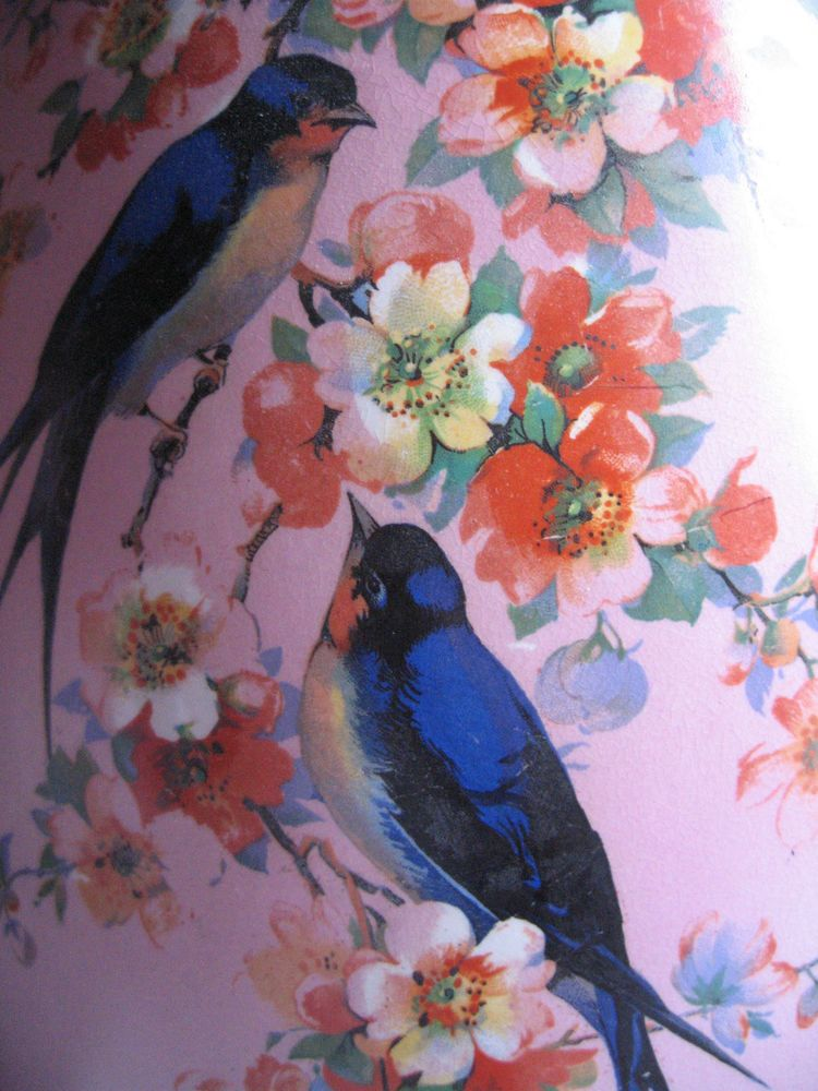 VINTAGE 1920s CROWNFORD BLOSSOMTIME LARGE PINK JUG BLUE BIRDS SWALLOWS BLOSSOMS