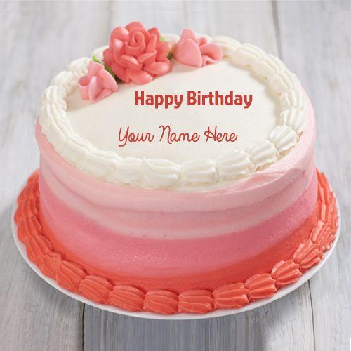 Write Name On Double Layer Cheese Opera Birthday Cake