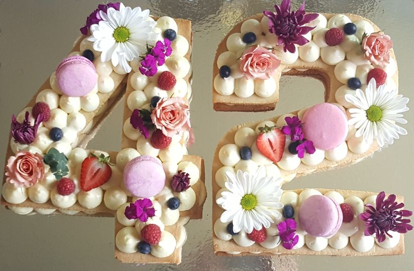 Peachy Number 42 Cake With Images Mom Cake Number Cakes 42Nd Birthday Funny Birthday Cards Online Fluifree Goldxyz