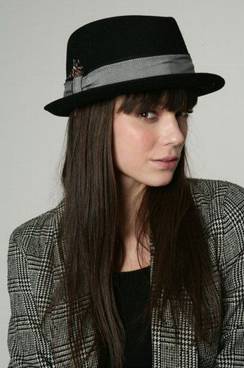 de9074cb9c1 Dress womens fashion black short brimmed felt fedora hat with grey band and  feather