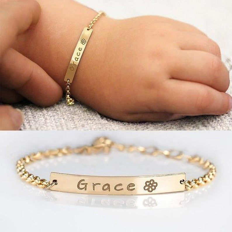 Personalised 925 Sterling Silver Adjustable Baby Bracelet Christening Xmas Gift