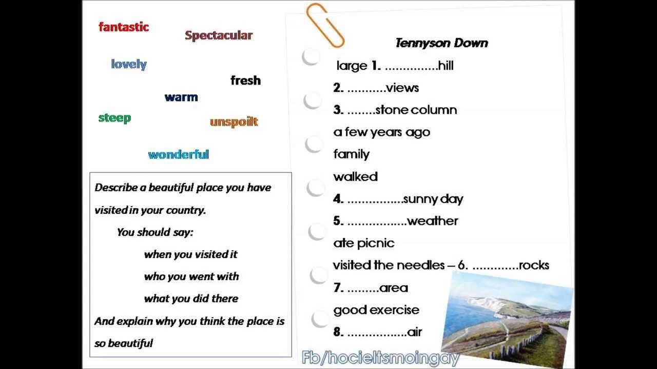 describe a visit to a beautiful place Adjectives used to describe cities, towns and countries, with clear example sentences using words like beautiful, charming  to polluted, dull this lesson will help you to increase your english vocabulary for describing places.