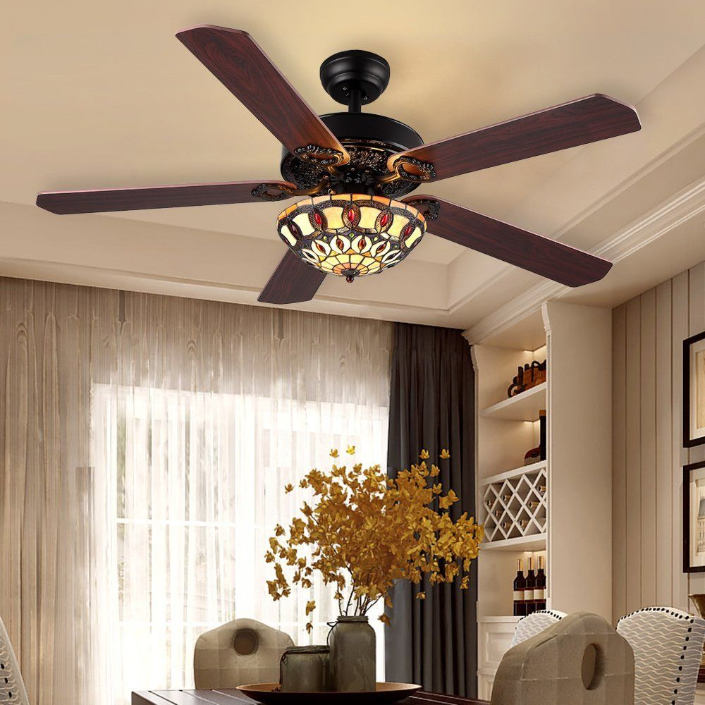 Natsukage 52 Inch Tiffany Style Ceiling Fan Light With 5 Wood