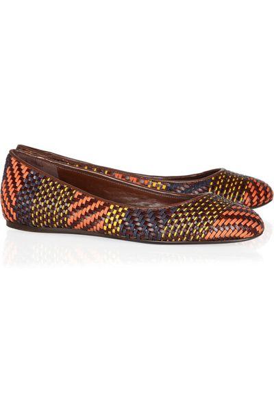 Burberry Prorsum Woven Leather & Raffia Ballet Flat #shoes