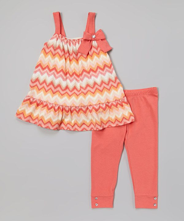 Another great find on #zulily! A.B.S. by Allen Schwartz Coral Zigzag Tunic & Leggings - Infant, Toddler & Girls by A.B.S. by Allen Schwartz #zulilyfinds