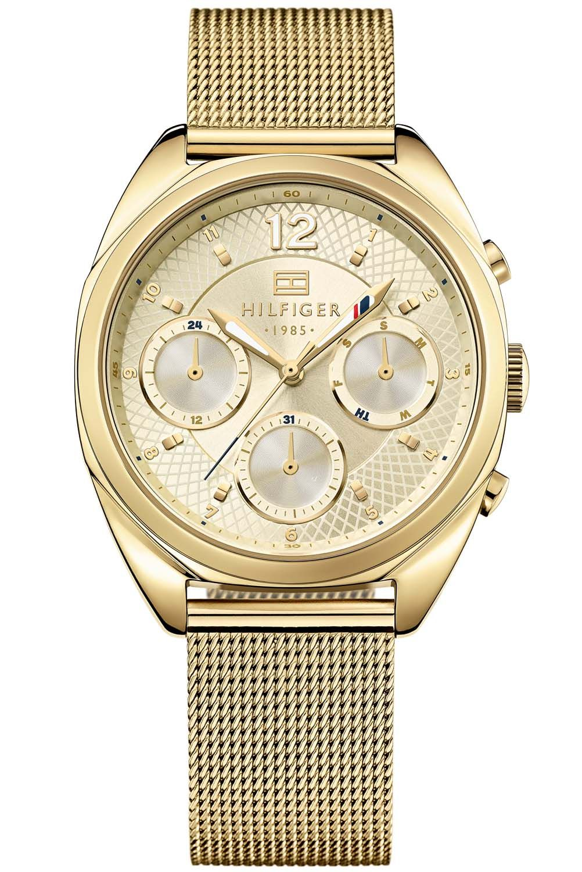 4f512c74fe1 Relógio feminino Tommy Hilfiger com pulseira e caixa redonda em aço dourado  - 1781488