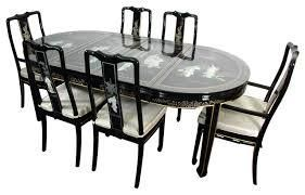 Black Lacquered With Mother Of Pearl Oriental Dining Table Set