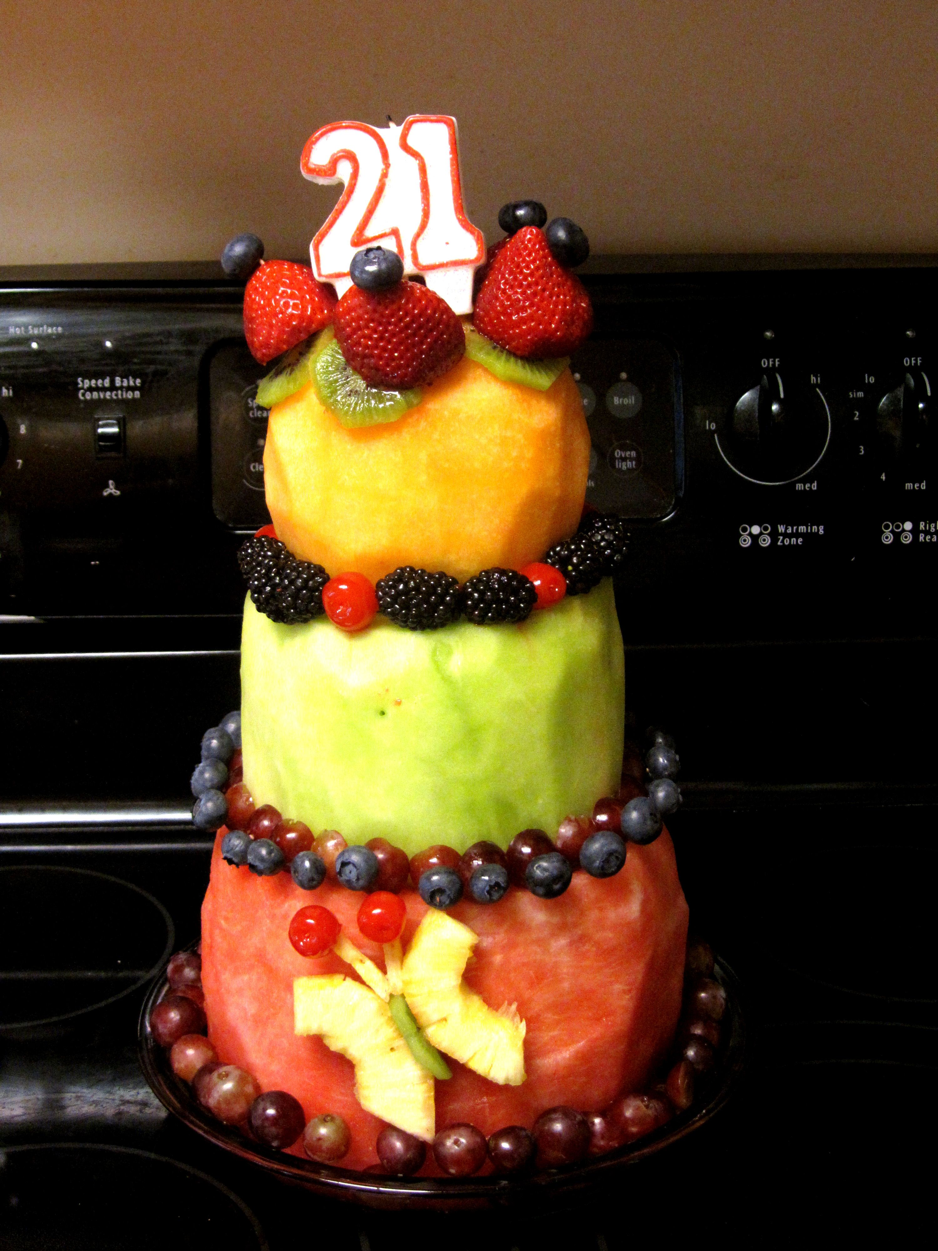 The cake I carved out of fruit for my 21st Birthday Healthy