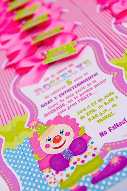 033ef89293ff7 Invitaciones cumpleaños - tema de payasito