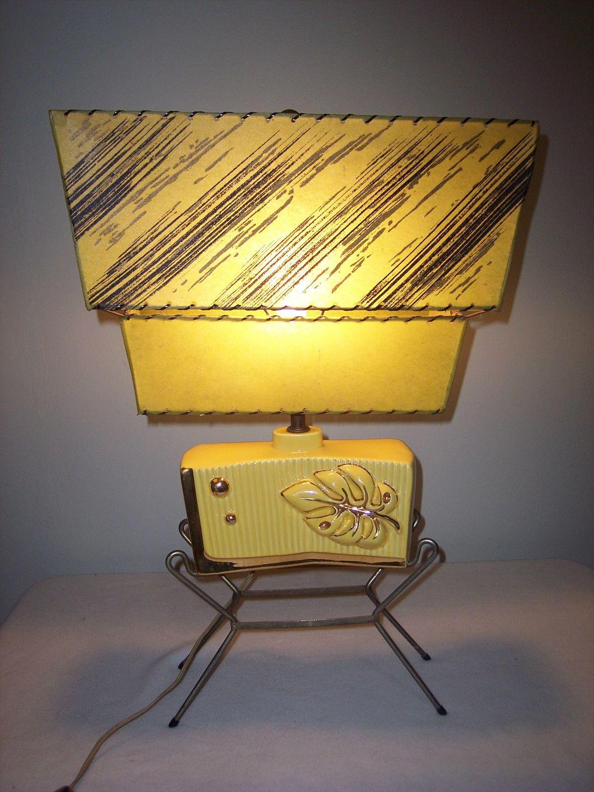 Fabulous 1950s Mid Century Modern Eames Era Atomic Lamp 2 Tier Fiberglass Shade Mid Century Lamp Mid Century Modern Lamps Mid Century Decor