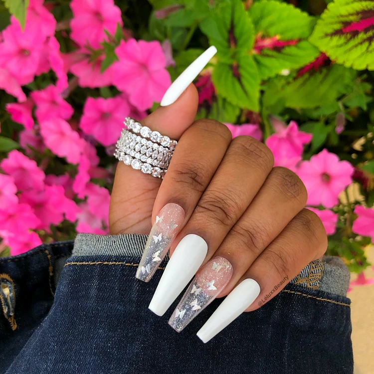 Classic Butterfly Set Leluxx Beauty In 2020 White Acrylic Nails Best Acrylic Nails Pretty Acrylic Nails