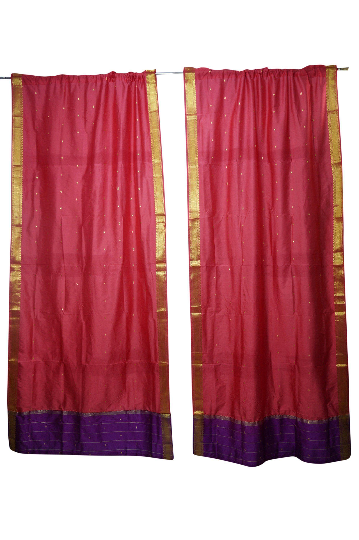 2 Peach Sari Curtain Rod Pocket Panel Drape Home Decor Door