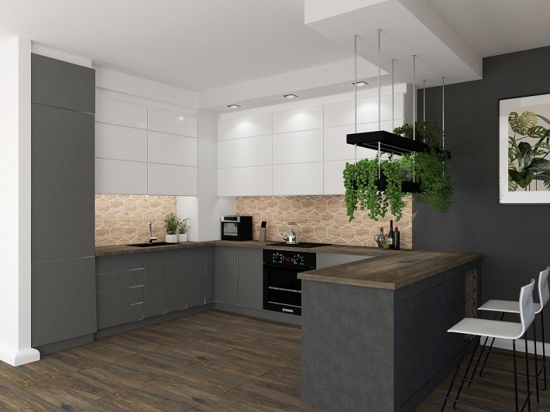 Foorni Pl Salon Lazienek Blu Kuchnia Wyspa Kuchniaotwarta Drewno Biel Grafit Rosliny Wnetrza Green Design Kitchen Interior Kitchen Home Furniture
