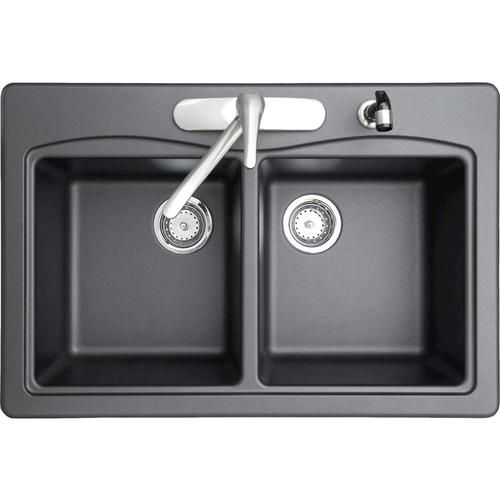 Swan Granite Double Bowl Kitchen Sink At Menards Granite Kitchen