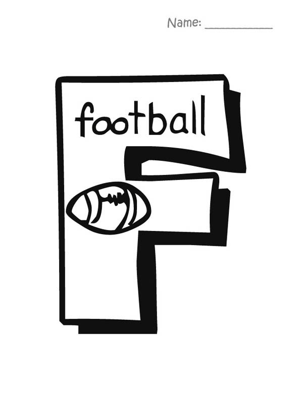 Capital Letter F For Football Coloring Page : Bulk Color