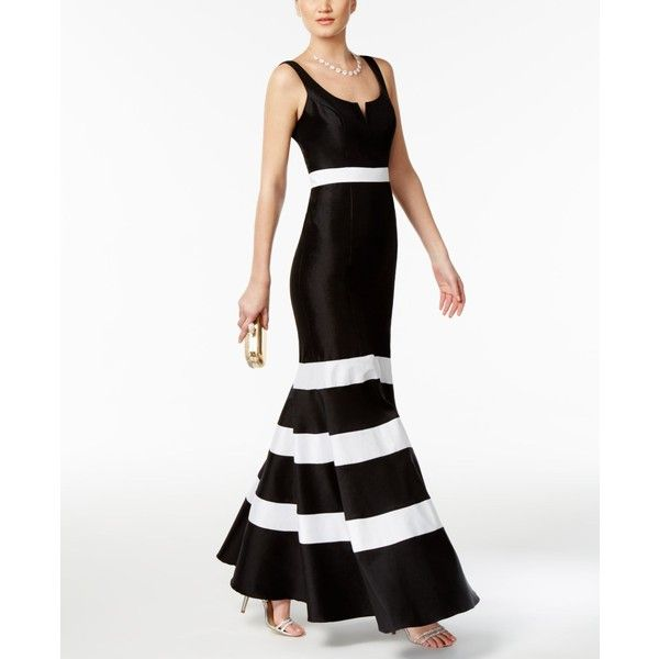 Xscape Taffeta Striped Mermaid Gown ($269) ❤ liked on Polyvore ...