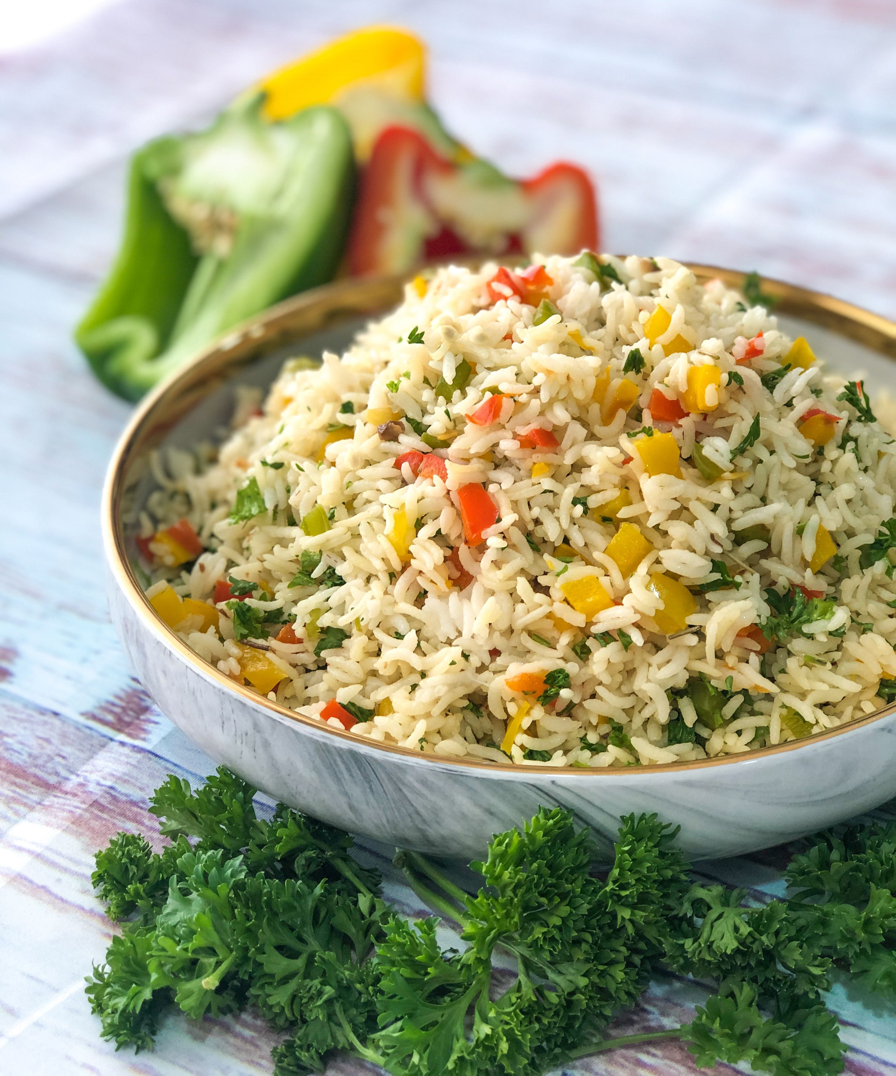 Bell Pepper & Parsley Rice #bellpeppers