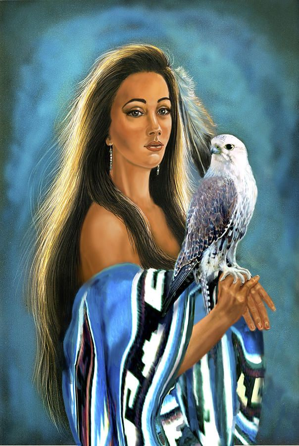Artwork Painting - Native American Maiden With Falcon by Regina Femrite