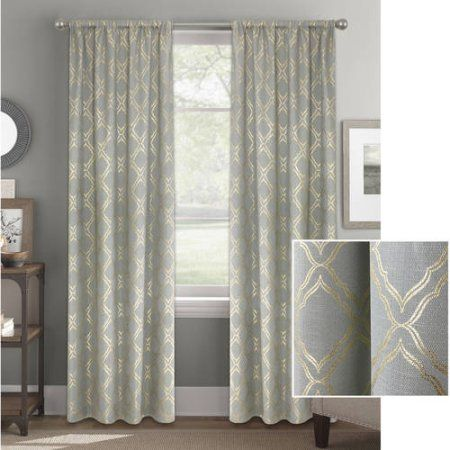 Better Homes And Gardens Metallic Foil Trellis Curtain Panel Walmart Com In 2020 Gold Curtains Living Room Silver Curtains Panel Curtains