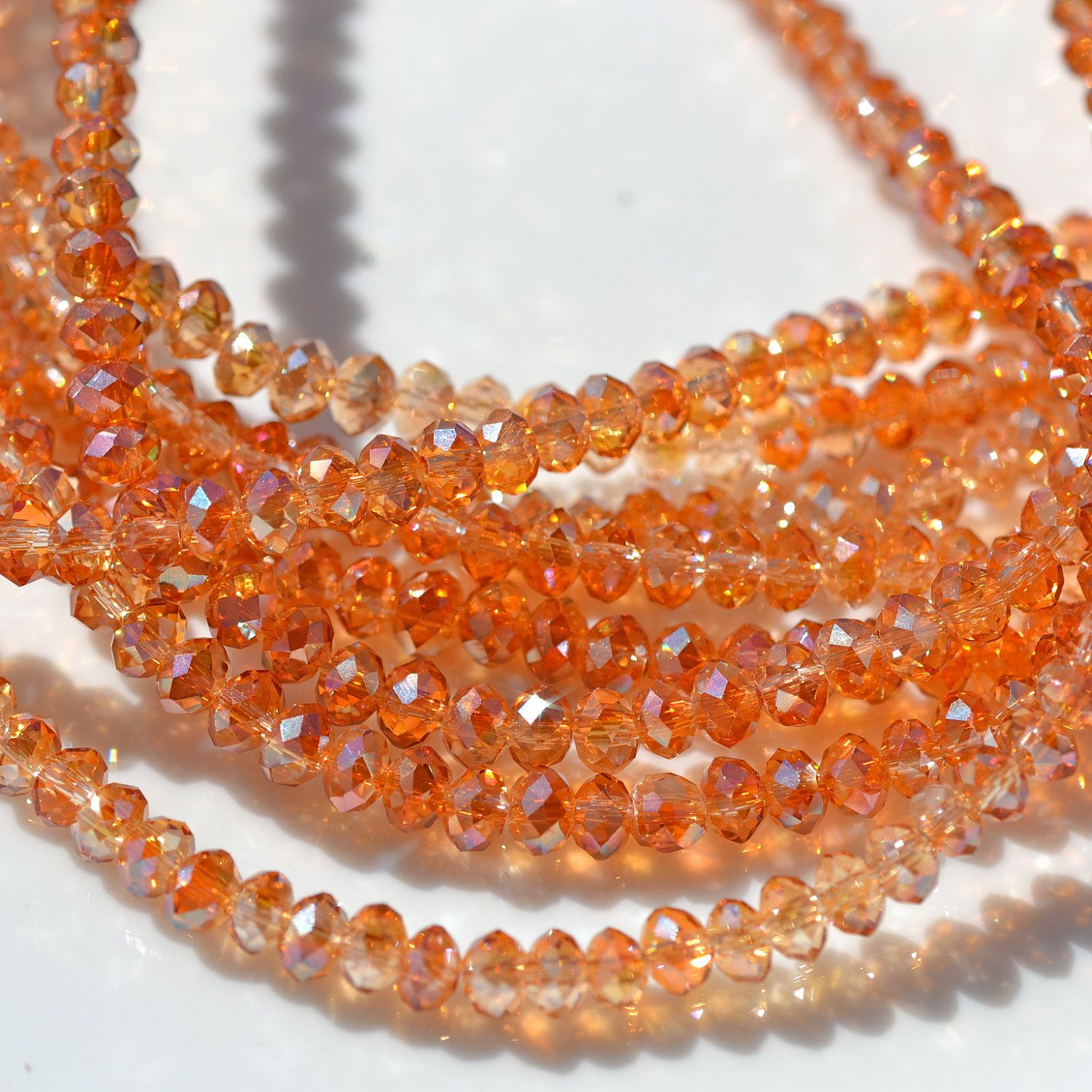 Autumn SUn 4x3mm Faceted Crystal Rondelle Beads