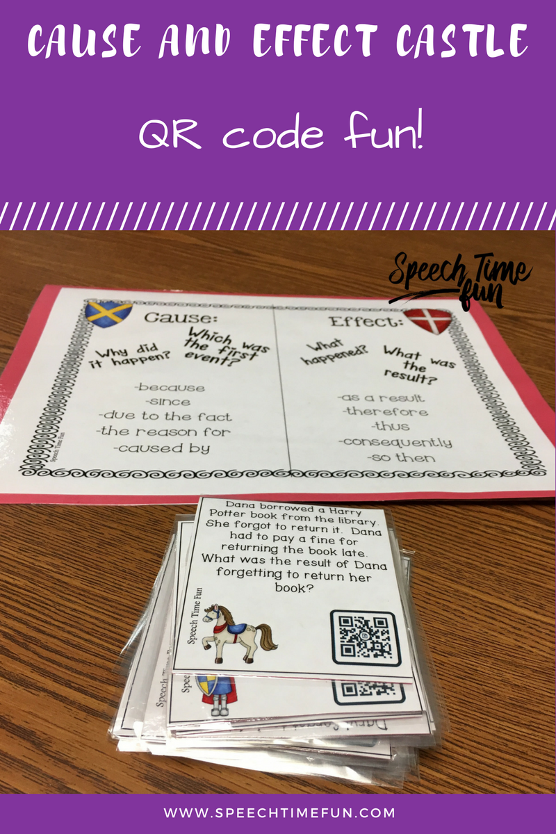 Cause and Effect Castle QR Code Fun - perfect for older speech and language students.  Use technology and keep them motivated.