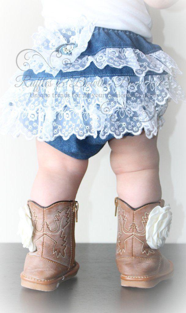 Handmade Denim Lace Ruffle Diaper Cover Tutu Cowgirl