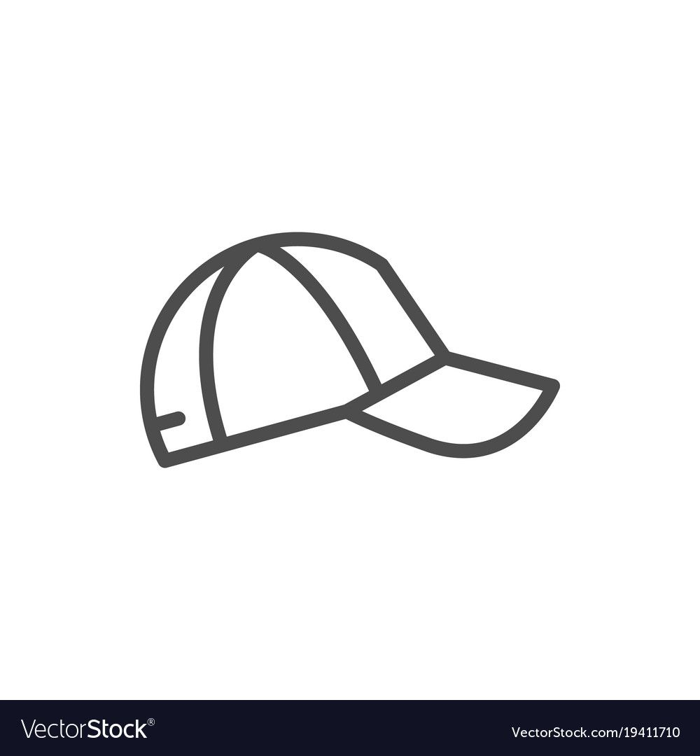 Baseball Cap Line Icon Isolated On White Vector Illustration Download A Free Preview Or High Quality Adobe Illustrator Ai Line Icon Cute Easy Drawings Icon