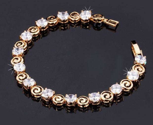 สร้อยข้อมือทอง 18 K ฝังเพขร CZ AAA เม็ดเรียงตัวสวย ระยิบระยับ ทรงกลม สลับลายทอง มี สร้อยทอง และ Platinum ของขวัญวันเกิด ให้แฟน 593444