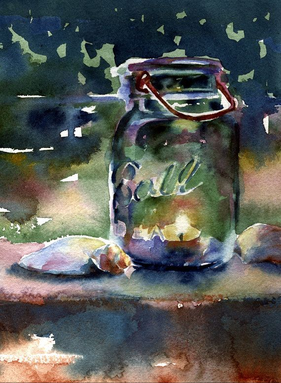 ball jar watercolor print candle painting by AlisaPaints on Etsy