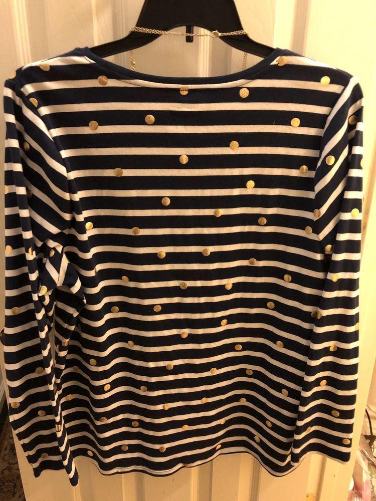 720185a1ed325 Lane Bryant Size 18 20 Navy White Gold Dots Shirt New