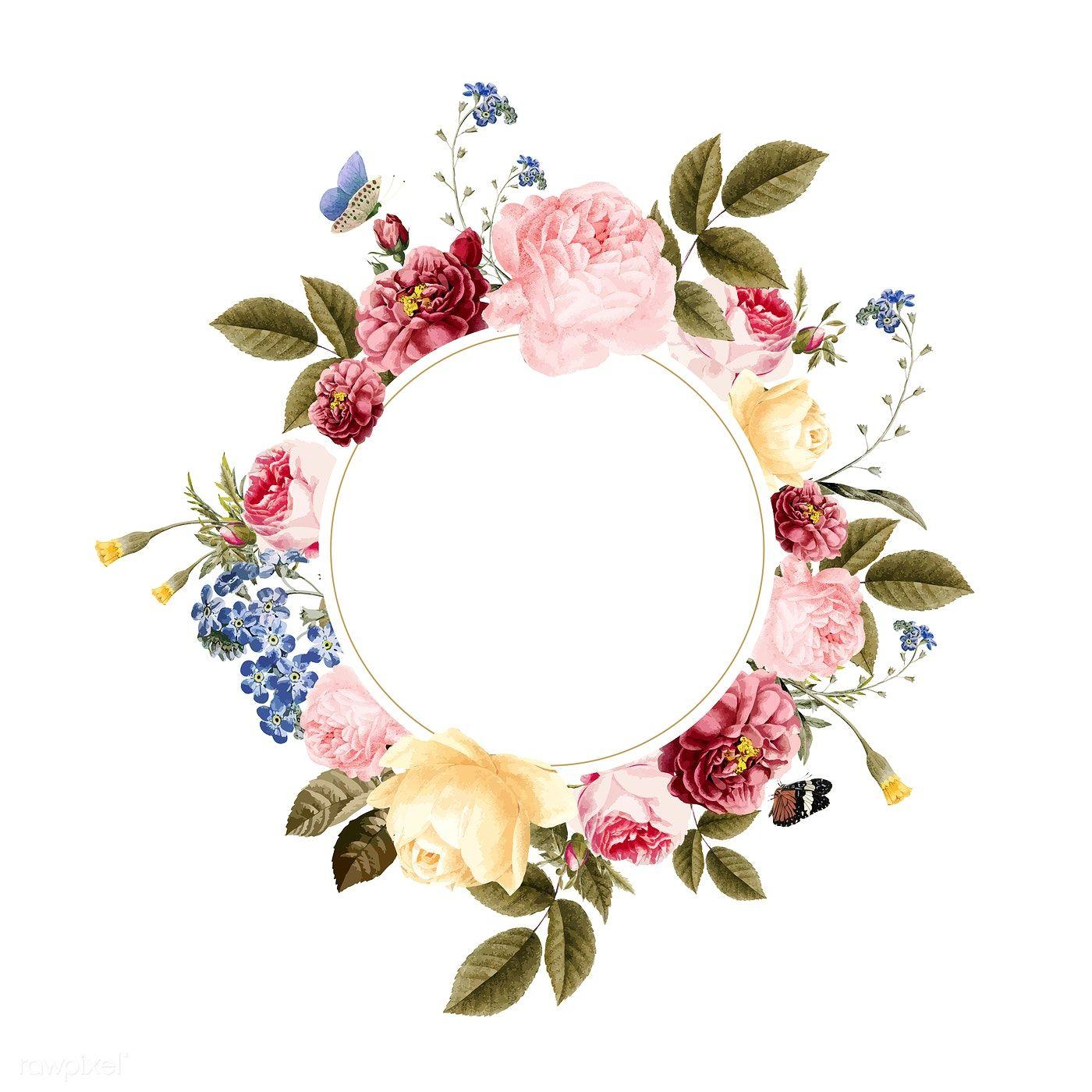 Download Premium Vector Of Blank Floral Frame Card Illustration