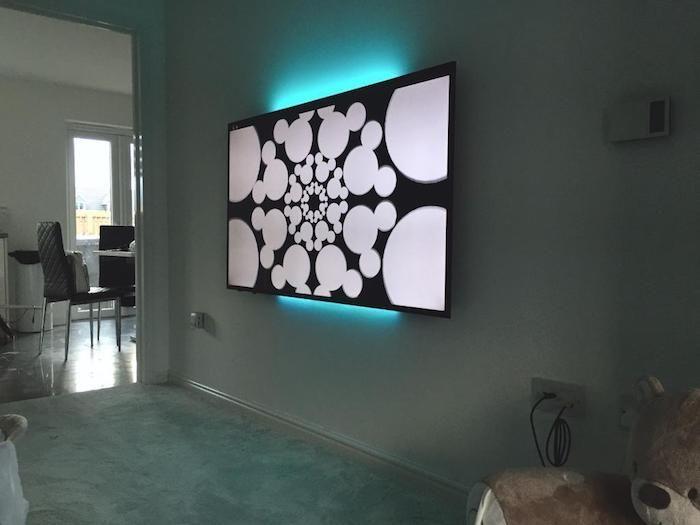 tv wohnwand fernsehwand wandgestaltung ideen schwarz weiße