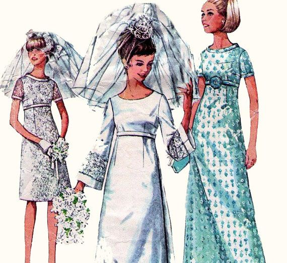 60s Vintage Wedding Dress Pattern by allthepreciousthings on Etsy, $20.00