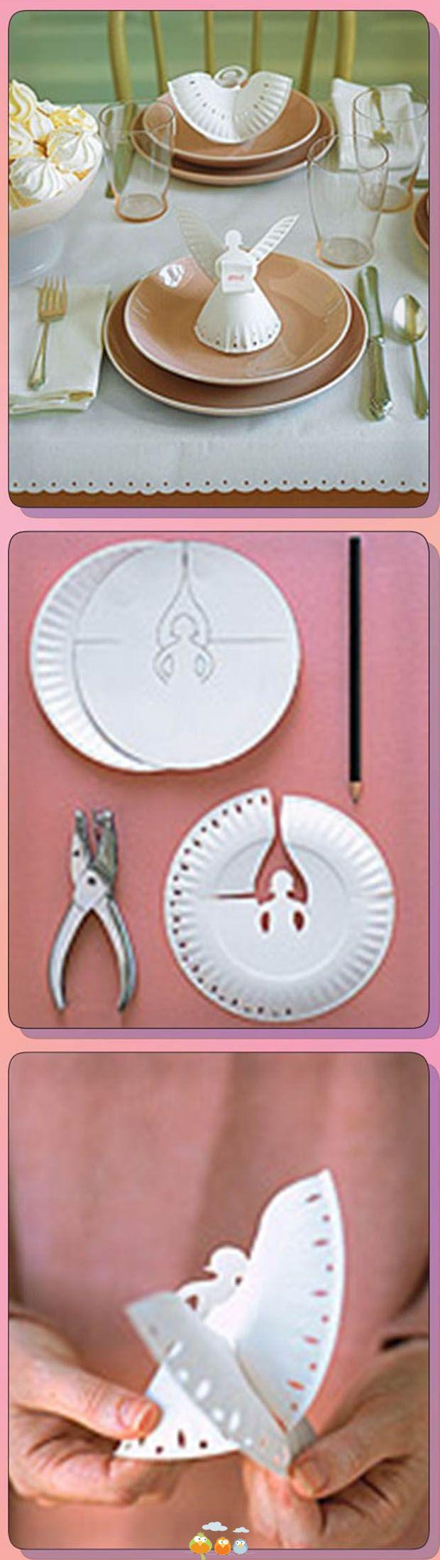 DIY Cute Angels from Recycled paper plate decor table Party Christmas Simple Inexpensive craft +++ Angel hecho a mano de plato de papel recortado Facil rapido Barato decoracion mesa Navidad More