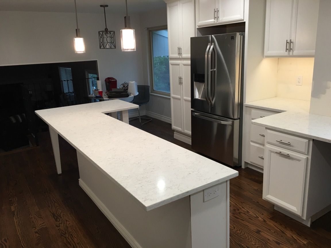 3cm Blanco Orion Silestone with a 3cm eased edge detail. | Quartz ...